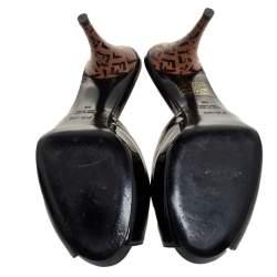 Fendi Black Patent Leather Peep Toe Slide Sandals Size 38