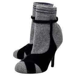 Fendi Grey/Black Velvet And Knitted Fabric Socks Ankle Boots Size 38