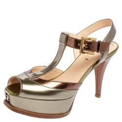 Fendi Metallic Tricolor Fendista Platform T-Bar Ankle Strap Sandals Size 37