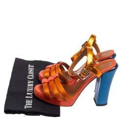 Fendi Orange Satin, Leather, And Lizard Embossed Leather Ankle Strap Sandals Size 38.5