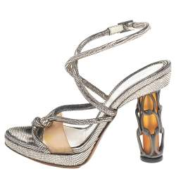 Fendi Metallic Leather Rope Strappy Sandals Size 37