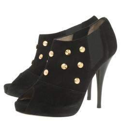 Fendi Black Studded Suede Platform Ankle Boots Size 37.5