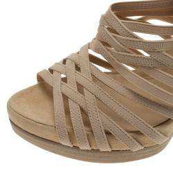 Fendi Beige Fabric and Suede Strappy Platform Sandals Size 37