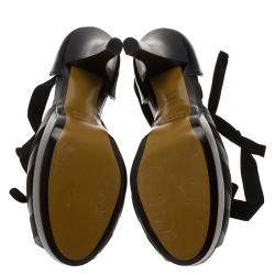 Fendi Black Leather Platform Ankle Strap Pumps Size 37