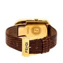 Fendi Yellow Gold Plated Steel Diamond Chameleon 30000M Women's Wristwatch 29 mm