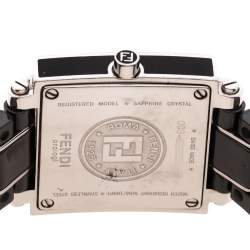 Fendi Black Ceramic Stainless Steel Quadro 6200L Women's Wristwatch 25 mm