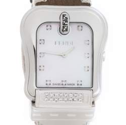 Fendi Mother of Pearl Stainless Steel Diamond B.Fendi 3800G Women's Wristwatch 33 mm