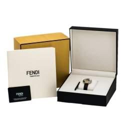 Fendi Mother Of Pearl Malachite Two Tone Stainless Steel Diamond Leather Policromia 51100S Women's Wristwatch 33 mm