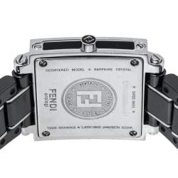 Fendi Black Ceramic and Stainless Steel Quadro 6200L Women's Wristwatch 25 mm