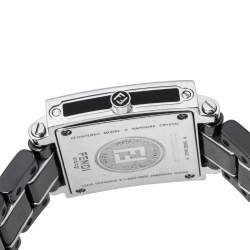 Fendi Black Ceramic and Stainless Steel Quadro 6200L Women's Wristwatch 25 mm