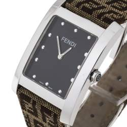 Fendi Brown Stainless Steel and Canvas Classic 7000G Women's Wristwatch 27 mm