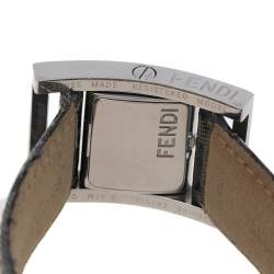 Fendi Silver Stainless Steel and Leather Classic 5000 Women's Wristwatch 26 mm