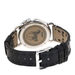 Fendi Black Stainless Steel Leather Selleria 8100M Women's Wristwatch 37 mm