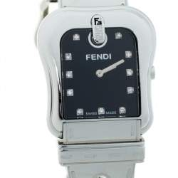 Fendi Black Stainless Steel Diamond B.Fendi 3800G Women's Wristwatch 33 mm