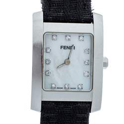 Fendi White Mother Of Pearl Stainless Steel Diamond Orologi 7000L Women's Wristwatch 21 mm