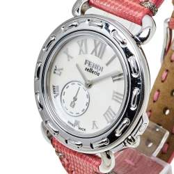 Fendi White Stainless Steel Leather Selleria 8100M Women's Wristwatch 37 mm