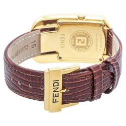 Fendi Champagne Gold Plated Steel Leather Diamond Chameleon 30000M Women's Wristwatch 29 mm