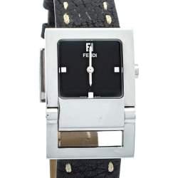 Fendi Black Stainless Steel & Leather 5200G Women's Wristwatch 27mm