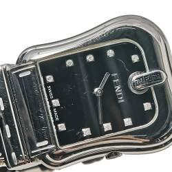 Fendi Black Stainless Steel Leather B.Fendi 3800G Women's Wristwatch 33 mm