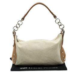 Furla Beige and Tan Canvas and Leather Shoulder Bag