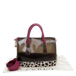 Furla Black/Fuchsia Glossy Rubber and Leather Leopard Detailed Candy Satchel