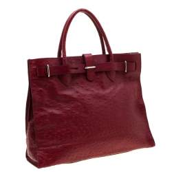Furla Red Ostrich Embossed Leather Large Greta Tote