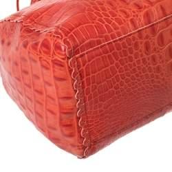 Furla Crimson Red Croc Embossed Leather Satchel
