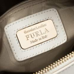 Furla White Leather Piper Perforated Top Handle Bag