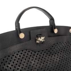 Furla Black Perforated Leather Piper Top Handle Bag