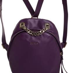 Furla Purple Leather Mini Spy Backpack