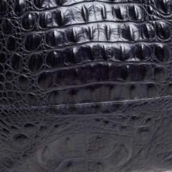 Furla Navy Blue Croc Embossed Leather Side Zip Tote