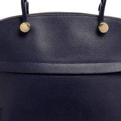 Furla Blue Leather Piper Dome Satchel