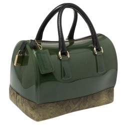 Furla Green Rubber and Pyhton Embossed Leather Medium Candy Satchel