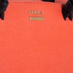 Furla Coral Red/Black Leather Convertible Satchel