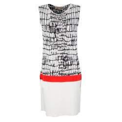 Giambattista Valli Monochrome Jacquard Knit Contrast Waist Detail Sleeveless Dress L