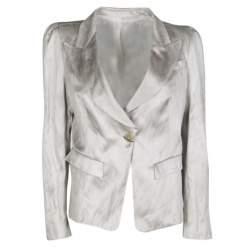 Gianfranco Ferre Grey Satin Tailored Blazer L