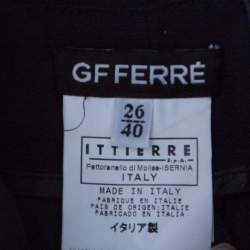 GF Ferre Navy Blue Cotton Crest Applique Detail Straight Fit Trousers S