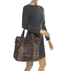 GF Ferre Black/Yellow Embossed Python Leather Tote