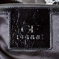 GF Ferre Black Logo Printed Nylon Zip Tote