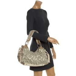 Gianfranco Ferre Olive Green/Cream Crochet and Python Embossed Leather Tote
