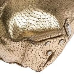 Gianfranco Ferrer Gold Python Embossed Leather Hobo