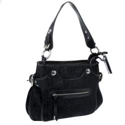 GF Ferre Black Signature Front Zip Hobo