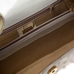 Gianfranco Ferre Croc Embossed Leather Shoulder Bag