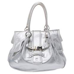 Gianfranco Ferre Silver Leather Flap Buckle Satchel