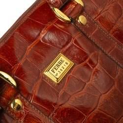Gianfranco Ferre Brown Croc Embossed Leather Satchel