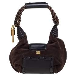 Gianfranco Ferre Brown Suede and Leather Braided Handle Hobo