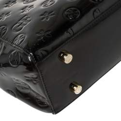 Gianfranco Ferre Signature Embossed Patent Leather Buckle Handle Tote