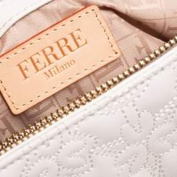 Gianfranco Ferre White Logo Embossed Leather Top Handle Bag