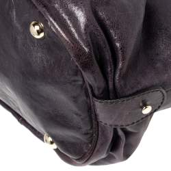 Gianfranco Ferre Purple Leather Metal Ring Handle Satchel