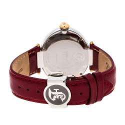 Gianfranco Ferre Red White Stainless Steel Diamond Collection Oval Watch 44 mm